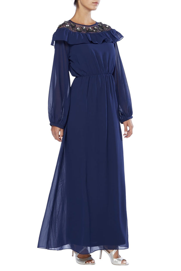 Floral and Frill Embroidered Abaya Dress