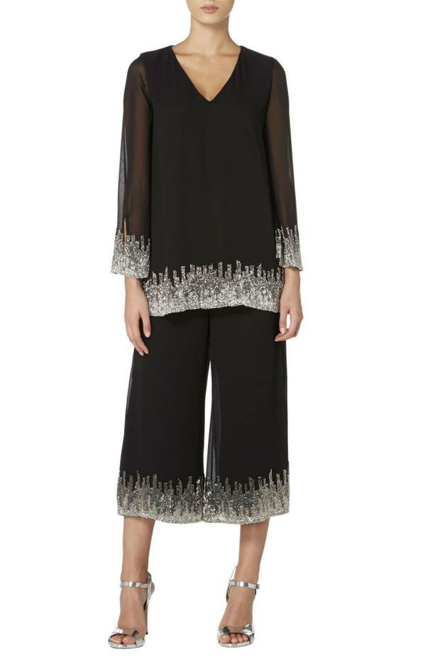V-Neck Tunic Top with Silver Embroidery