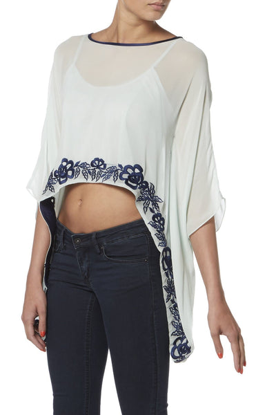 Mint and Navy Embroidered Kaftan Top