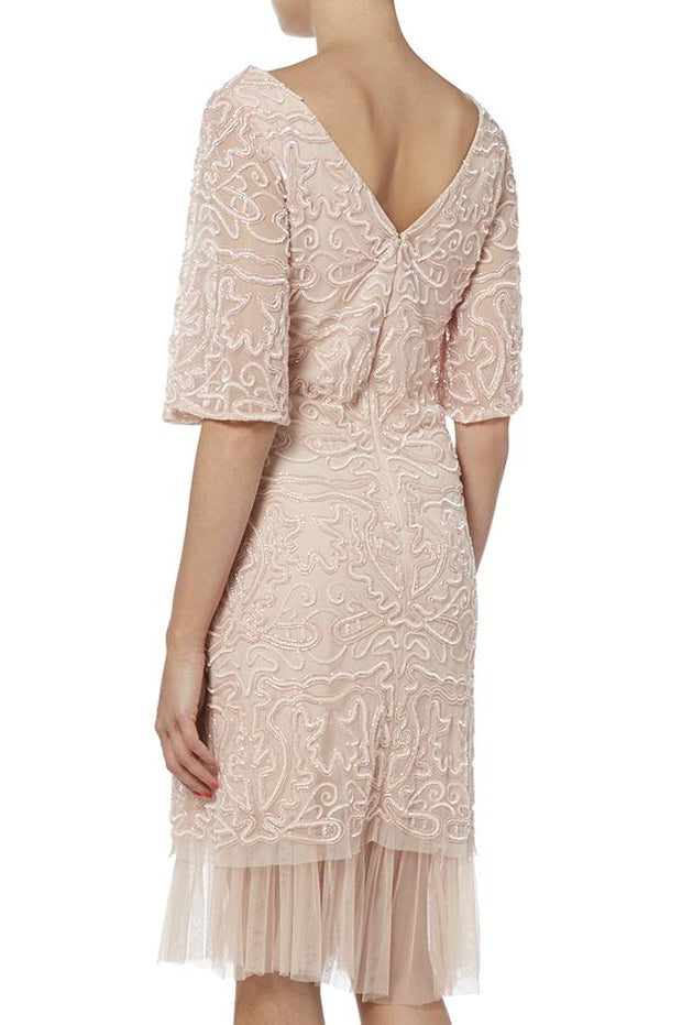 Pink Bell Sleeve Cocktail Dress
