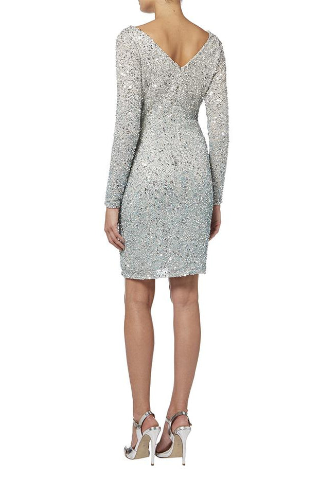 Silver Sequin Beaded Ombre Dress