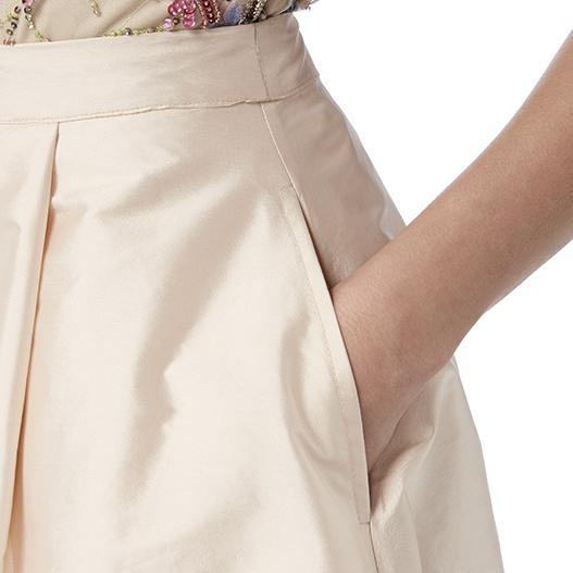 Blush Taffeta Midi Skirt