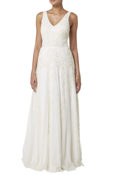 V-Neck Bridal Gown with Beaded Pearls