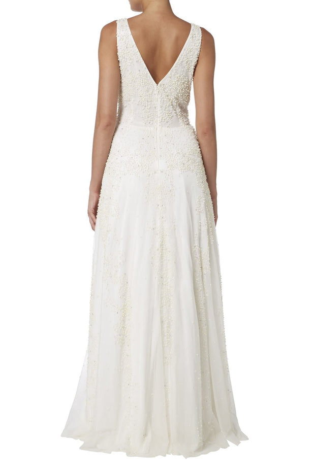 V-Neck Gown with Beaded Pearls