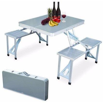 ALUMINIUM FOLDING PICNIC TABLE & CHAIRS SET + UMBRELLA - dreamtoys