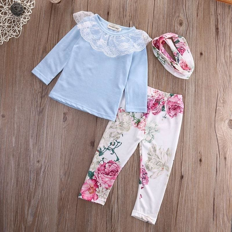 Toddler Kids Baby Girls Lace Tops T-shirt Floral Pants Outfits Clothes Set
