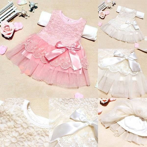 Toddler Baby Kids Girls Princess Party Tutu Lace bowknot Flower Dresses