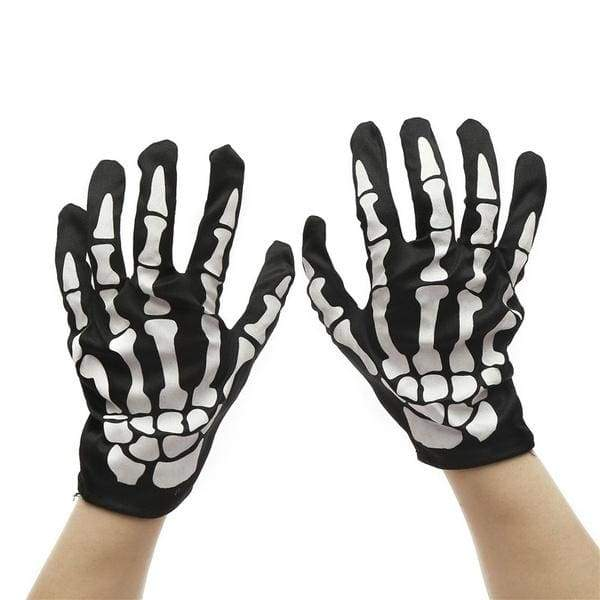 SKELETON BONES HANDS LATEX /& COTTON GLOVES SCARY HALLOWEEN FANCY DRESS
