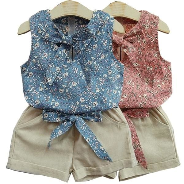 Summer Girls Clothing Set Cotton Floral Suits Kids Sleeveless t-Shirt+Shorts 2pcs Casual Tracksuit