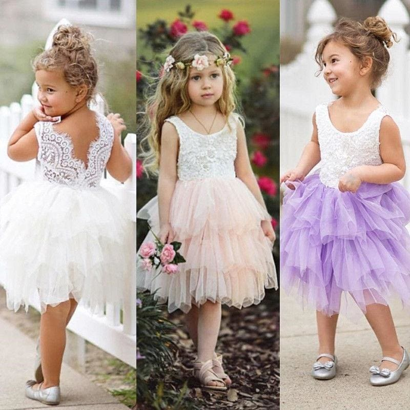 Baby Newborn Girl Kids Princess Dress Lace Pageant Party Dress Headband Set AB