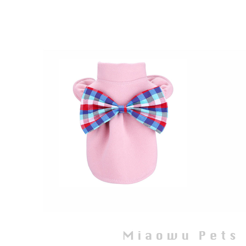 Pet lattice bow shirt