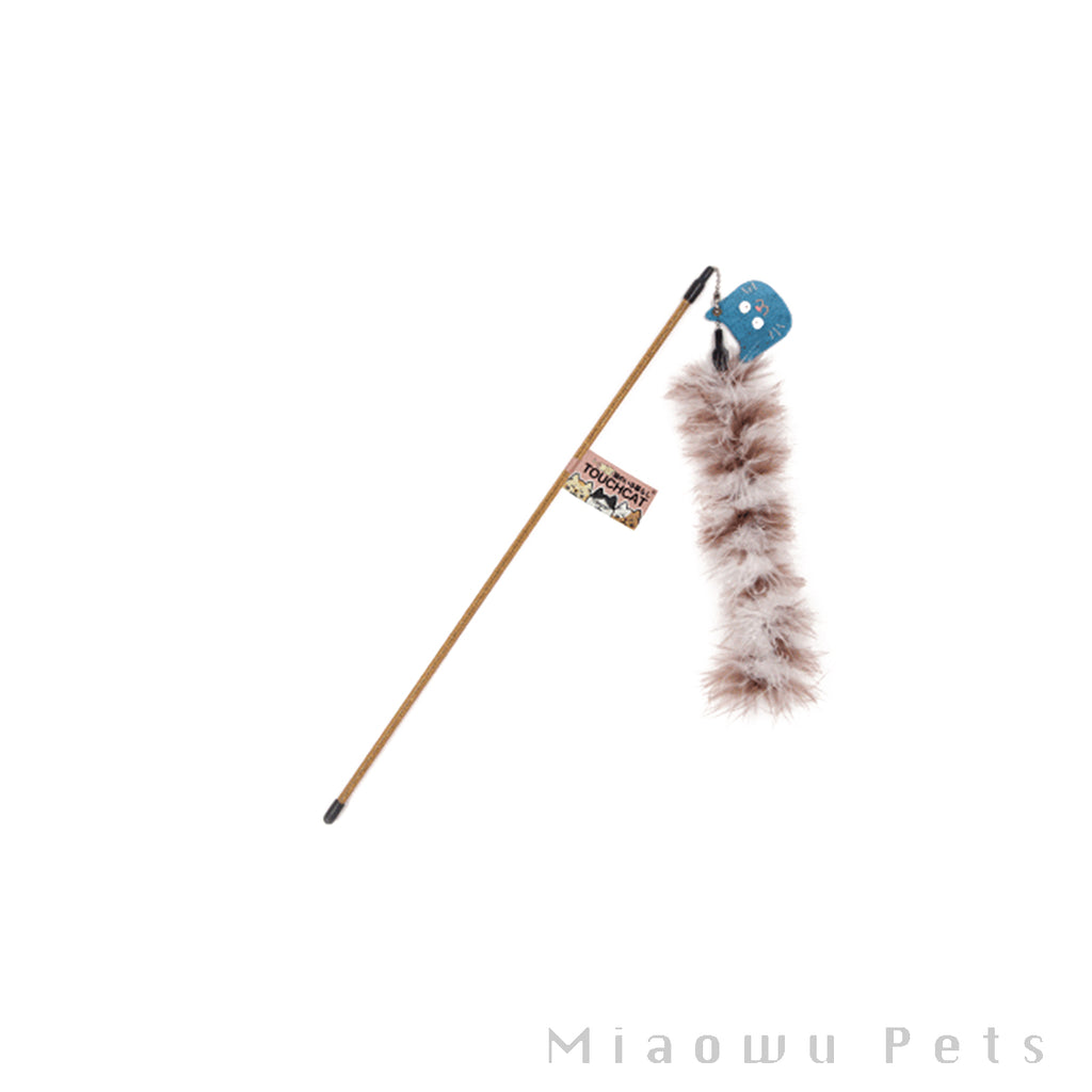 Touchcat natural feather cat stick