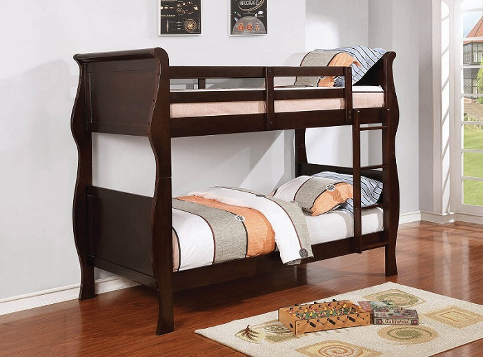 Riley Cappuccino Twin-Over-Twin Bunk Bed