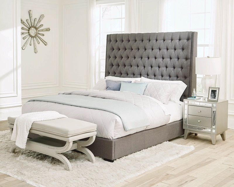 Chic Tufted Grey Fabric Bed
