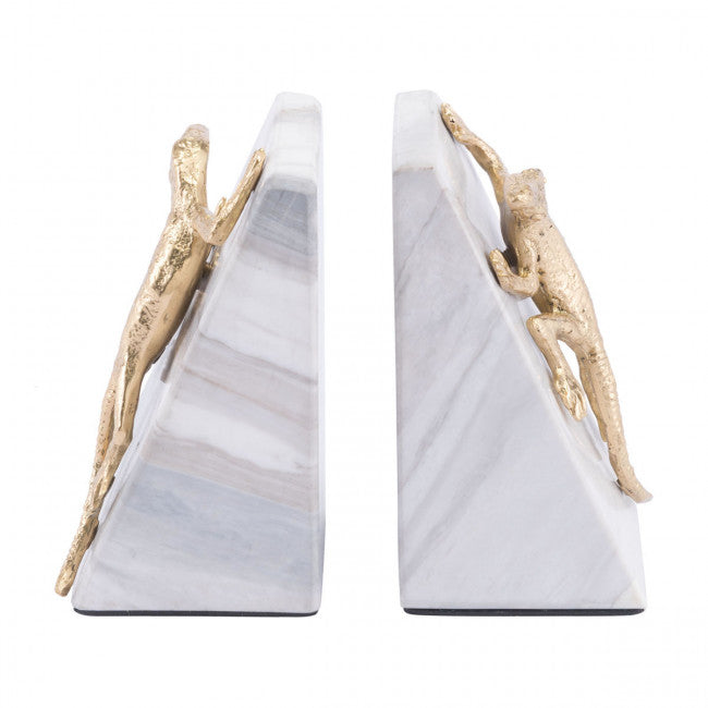 Reptilian White & Gold Book Ends