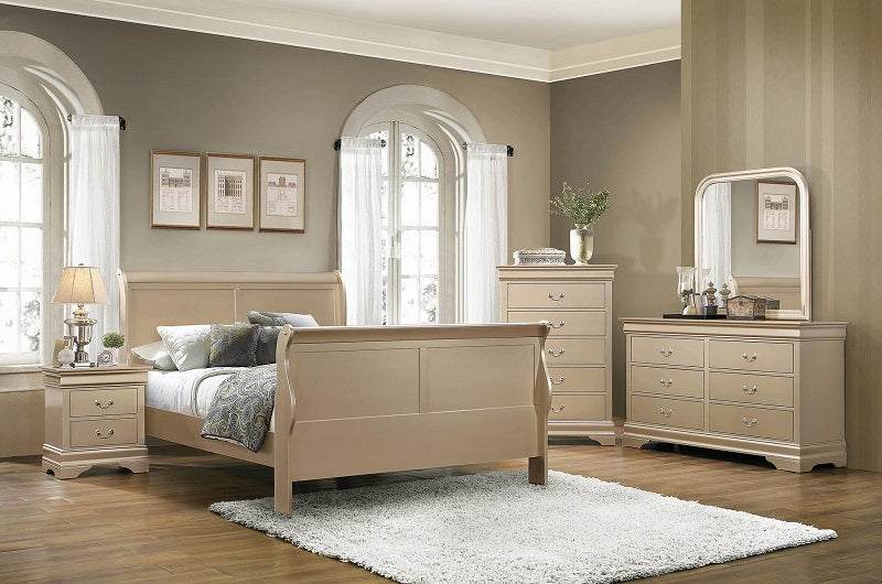 Louis Metallic Champagne 4-Piece Bedroom Set