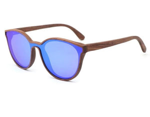 Aria Wood Cat Eye Sunglasses - Blue / Wood Case A - 33902 Free Shipping
