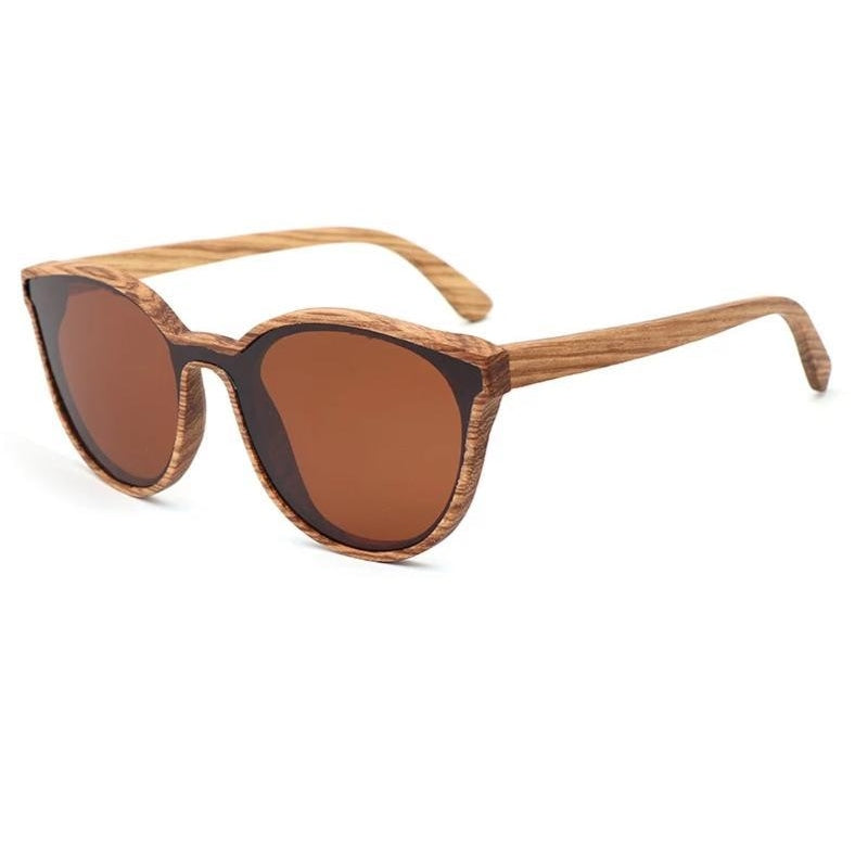 Aria Wood Cat Eye Sunglasses - Brown / Wood Case A - 33902 Free Shipping