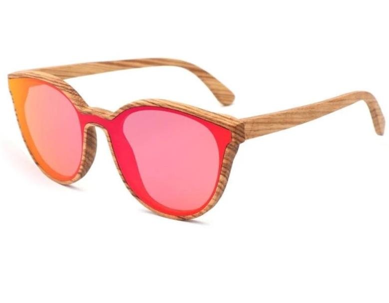 Aria Wood Cat Eye Sunglasses - Red / Wood Case A - 33902 Free Shipping