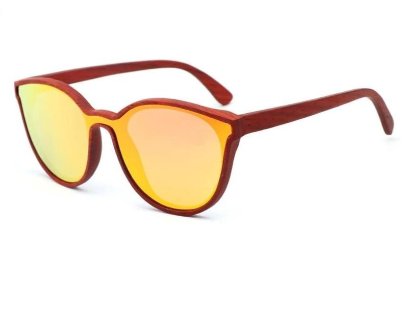 Aria Wood Cat Eye Sunglasses - Yellow / Wood Case A - 33902 Free Shipping