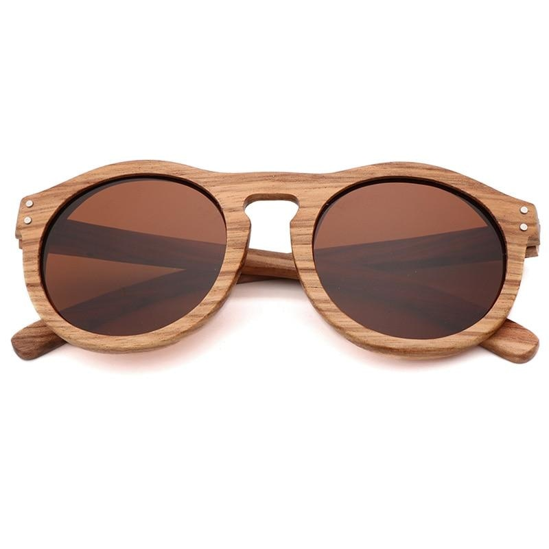 Breezy Mirror Wood Sunglasses - Brown-366 - 33902 Free Shipping