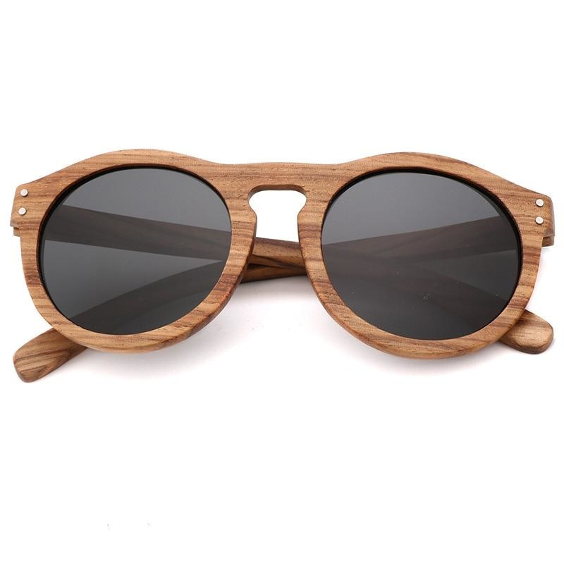Breezy Mirror Wood Sunglasses - Gray-496 - 33902 Free Shipping