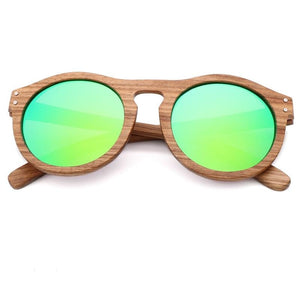 Breezy Mirror Wood Sunglasses - Green-10 - 33902 Free Shipping