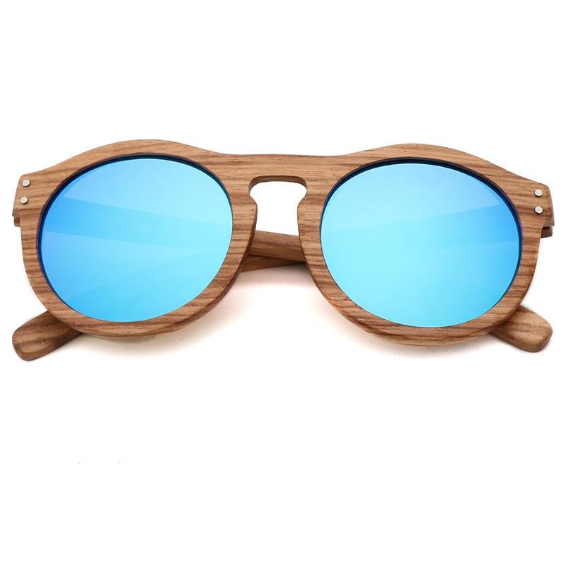 Breezy Mirror Wood Sunglasses - Ice Blue-175 - 33902 Free Shipping