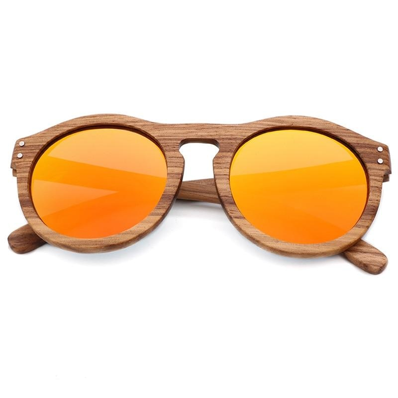 Breezy Mirror Wood Sunglasses - Orange-173 - 33902 Free Shipping