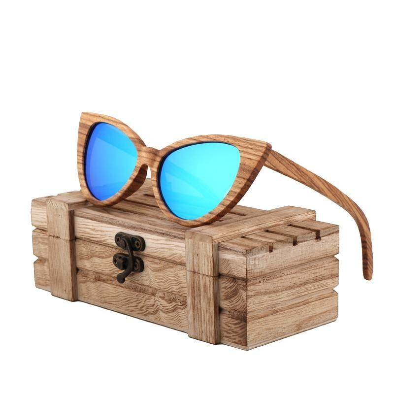 fashion sunglasses women luxury retro polarized woode sunglasses designer sunglasses men high quality UV400 gafas de sol hombre - Blue -