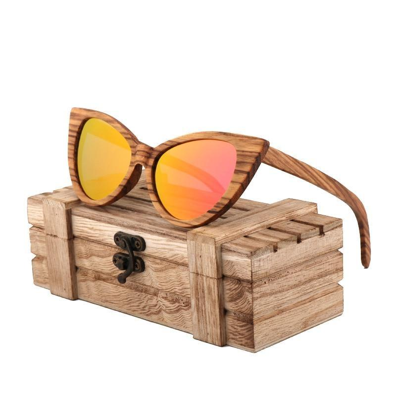 fashion sunglasses women luxury retro polarized woode sunglasses designer sunglasses men high quality UV400 gafas de sol hombre - Red -