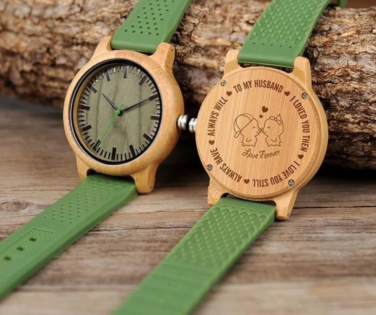 Personalized Silicone Band Wooden Watch - 200034143 Free Shipping