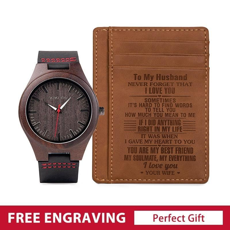 Trinity Wooden Watch & Wallet Set - watch and ID holder - 200034143 Free Shipping
