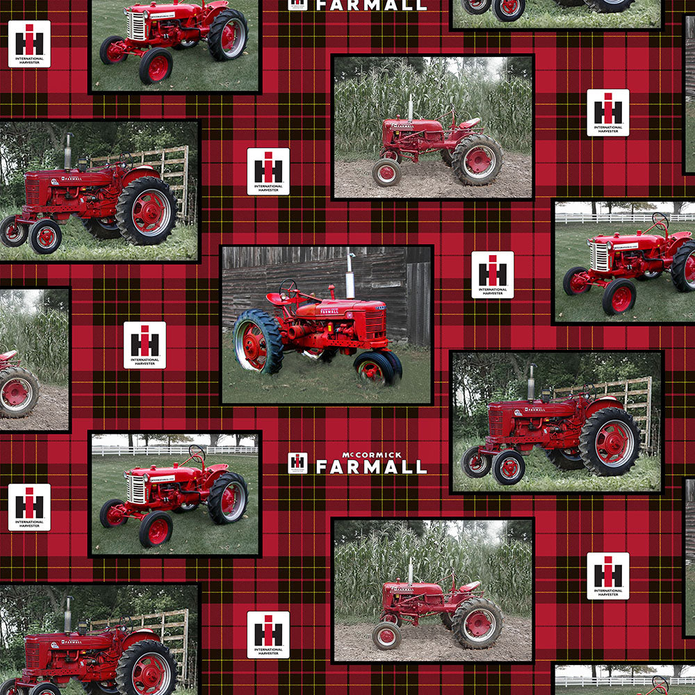 FARMALL / TRACTOR WITH PLAID ALLOVER-10175/8 Cotton