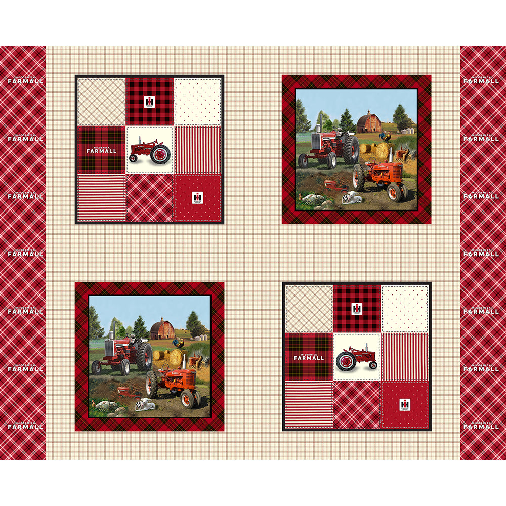 FARMALL / PLAID PILLOW COTTON PANEL-10181