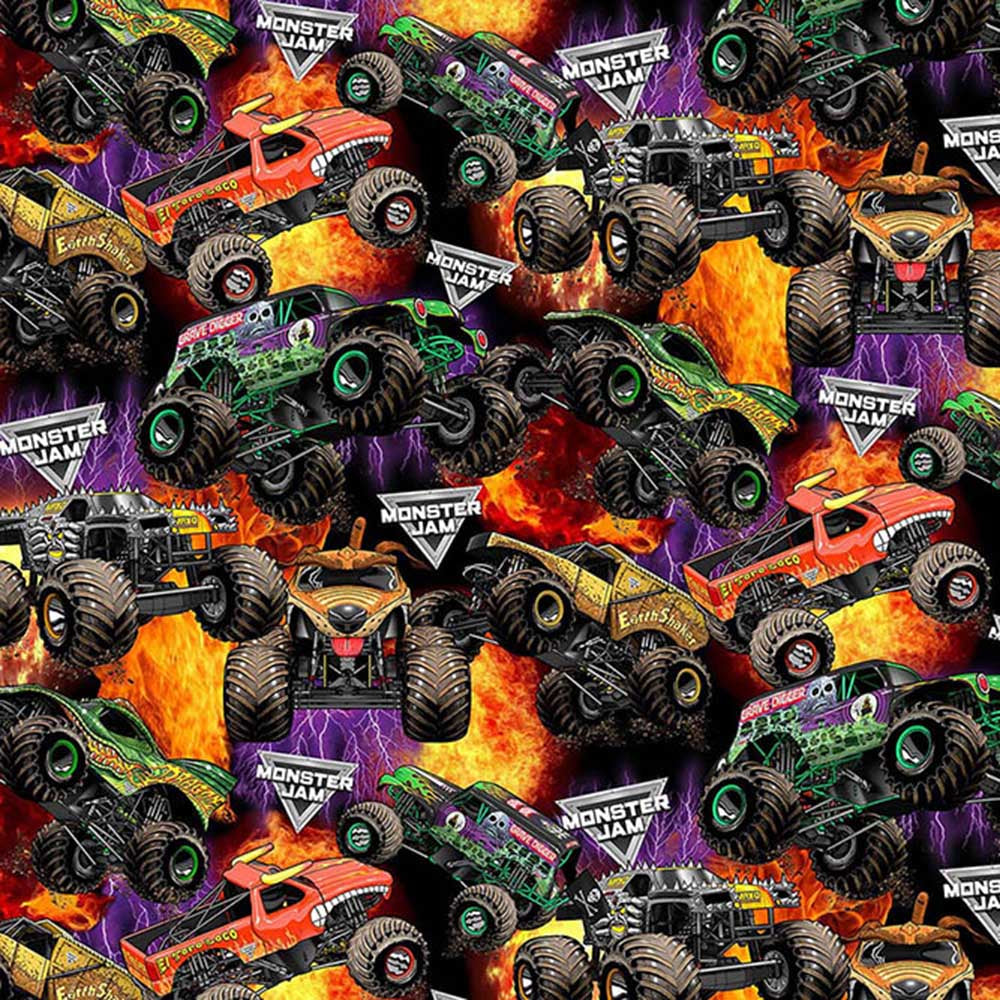 PACKED MONSTER TRUCKS-10257 Cotton