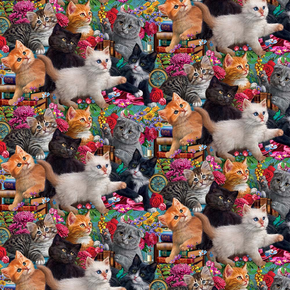 ELEGANT CATS PACKED KITTENS-10264 Cotton