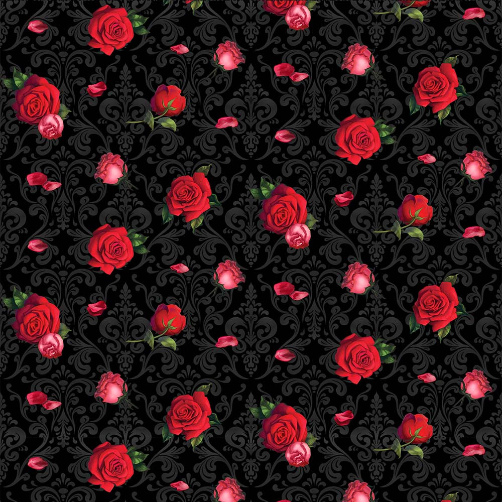FLOWERS ON DAMASK-10266 Cotton