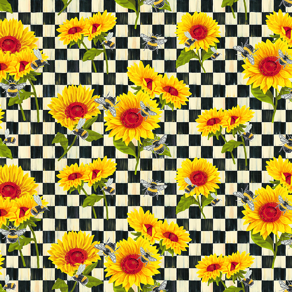 SUNFLOWERS ON CHECK-10354 Cotton