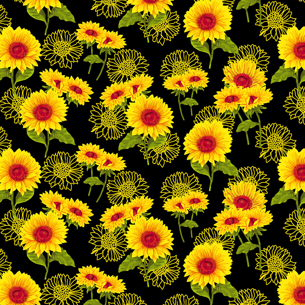 SUNFLOWERS SILHOUTTES -10355 Cotton