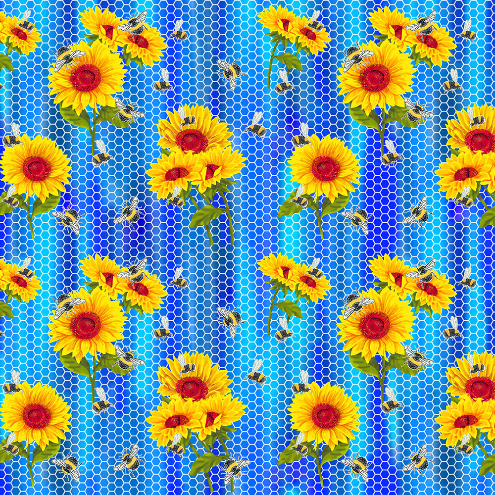 SUNFLOWERS ON BLUE HONEYCOMB-10358 Cotton