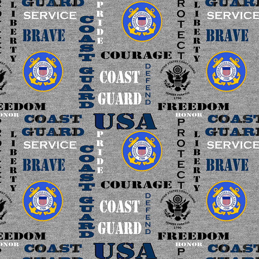 MILITARY COAST GUARD HEATHER PRINT LOGO ALLOVER-1181CG Cotton