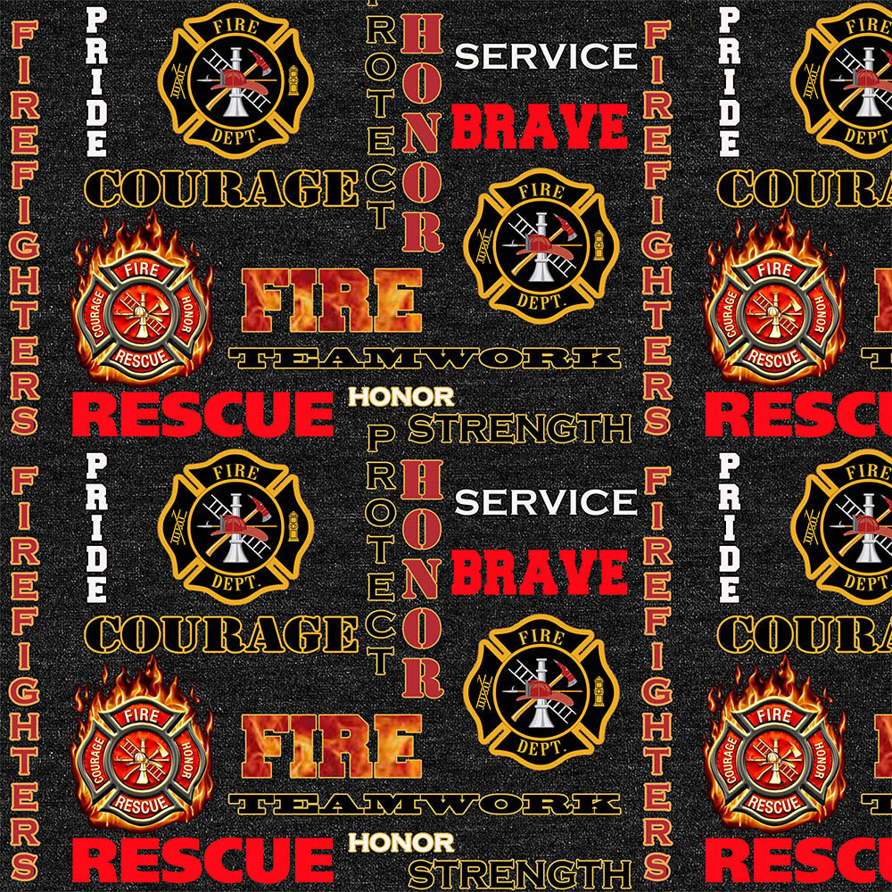 FIREFIGHTER HEATHER PRINT LOGO ALLOVER-1181FF Cotton