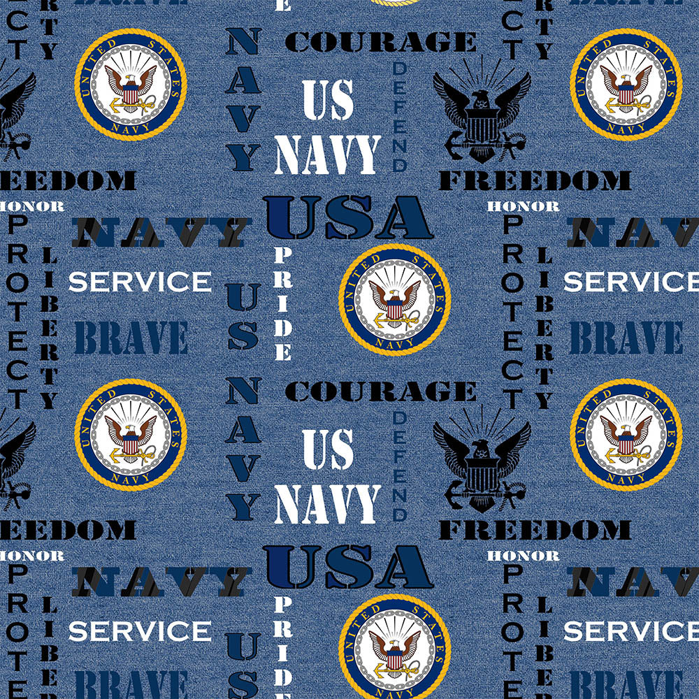 MILITARY NAVY HEATHER PRINT LOGO ALLOVER-1181N Cotton