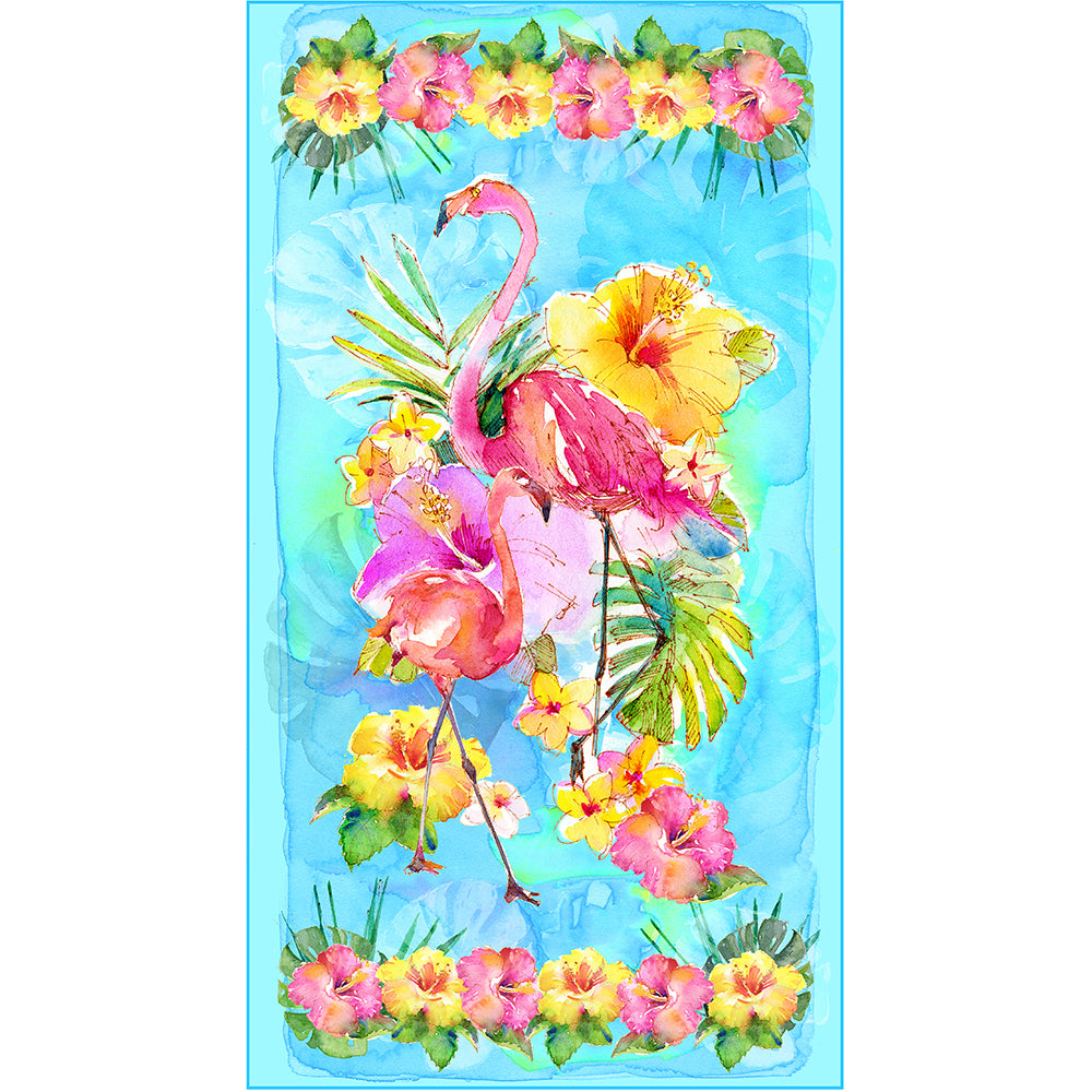 FLAMINGOS IN PARADISE / COTTON PANEL-10290