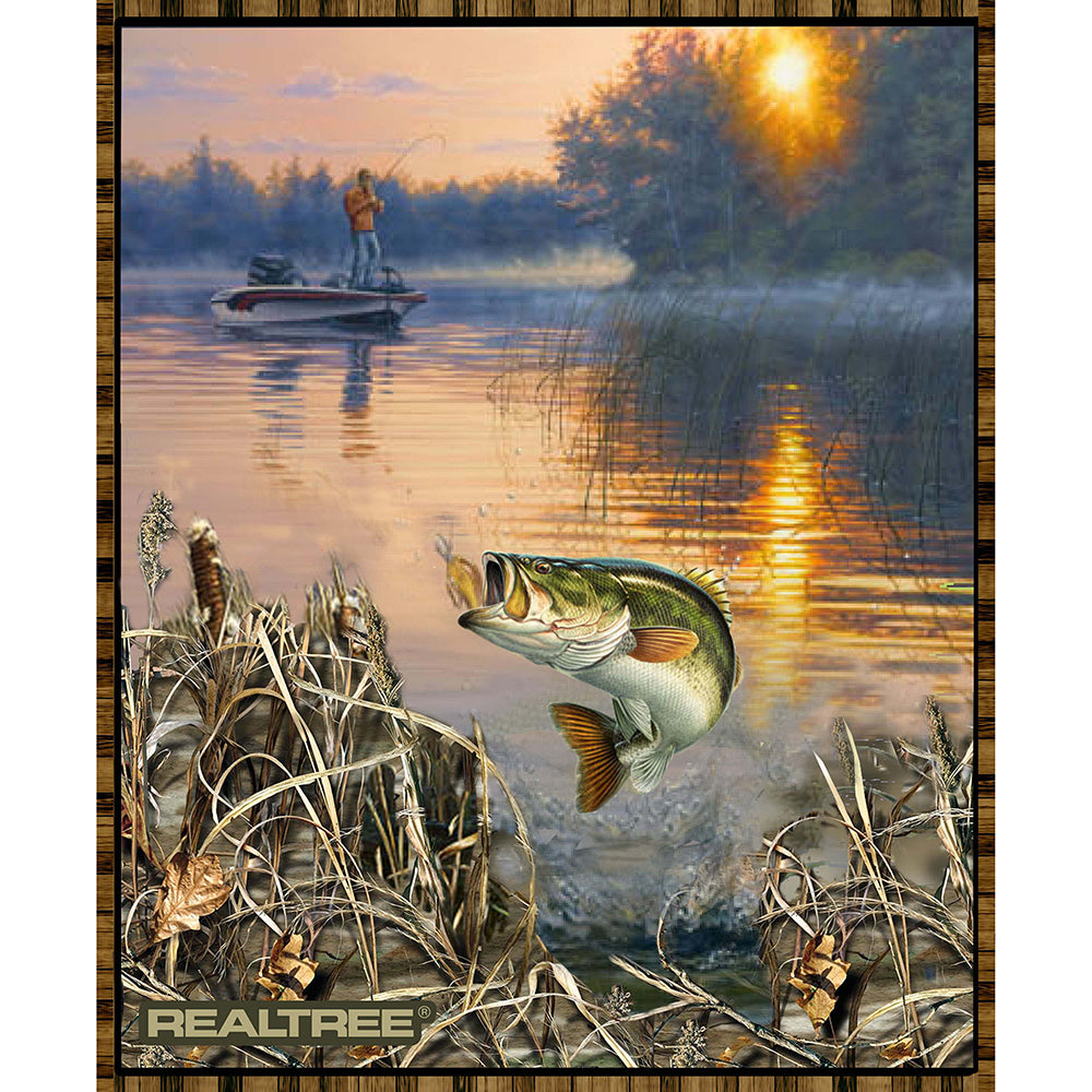 REALTREE BASS FISHING COTTON PANEL-9939