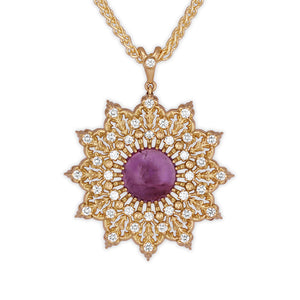 Amethyst Diamonds Star Pendant in Yellow Gold with diamonds