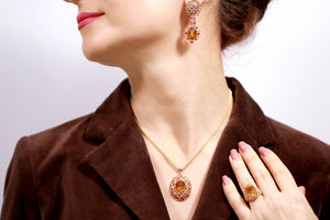 Gold Citrine Cocktail Ring Earrings Pendant Set with Pink Sapphires