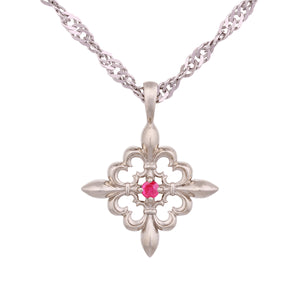 14K White Gold Pendant with Pink Ruby