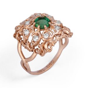 Emerald Ring with Diamonds in Yellow Gold Vintage Style
